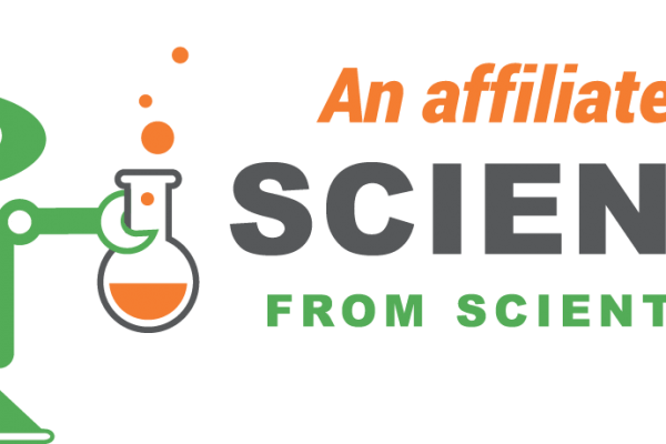 Affiliate logo for Science from Scientists including Scimon the Robot holding a flask with bubbles coming out of the top.