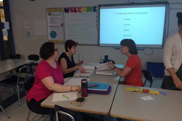 Revere High School teachers being trained during STP.
