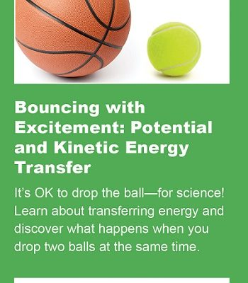 A basketball and tennis ball are show as part of an activity to investigate energy.