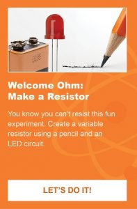 A battery, an LED and a pencil are shown as part of an activity to create a resistor.