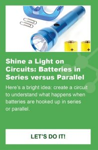 Flashlights, batteries, tape and paperclips are shown as part of an activity to create circuits.