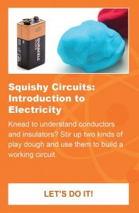 A battery, and clay are shown as part of an activity to make squishy circuits.