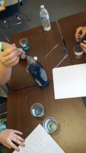 Students using dyes to change water color