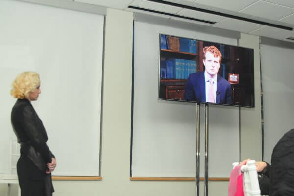 Joe Kennedy speaks to gala via recording.