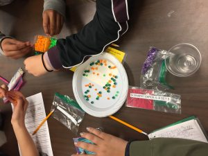 Students sort beads.