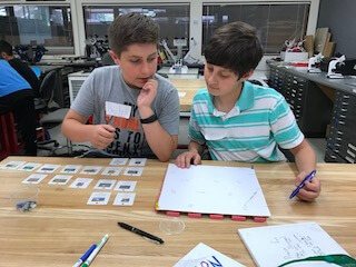 Two boys using chart to figure out pictures.