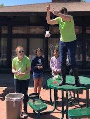 Instructors dropping egg during Lunar Landing lesson.