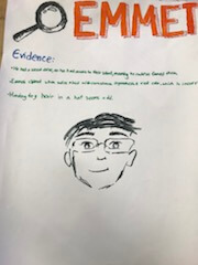 Hand drawing of Emmit with evidence outlined on the drawing.