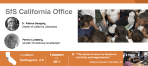 Graphic for the CA office, showing site leaders, location, founding year, quote from a classroom teacher and a picture of students looking at a cauldron with dry ice bubbles and another picture of students working on an experiment at a table.