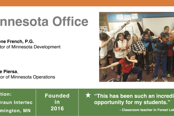 Graphic for the MN office, showing site leaders, location, founding year, quote from a classroom teacher and a picture of student and instructors dabbing.