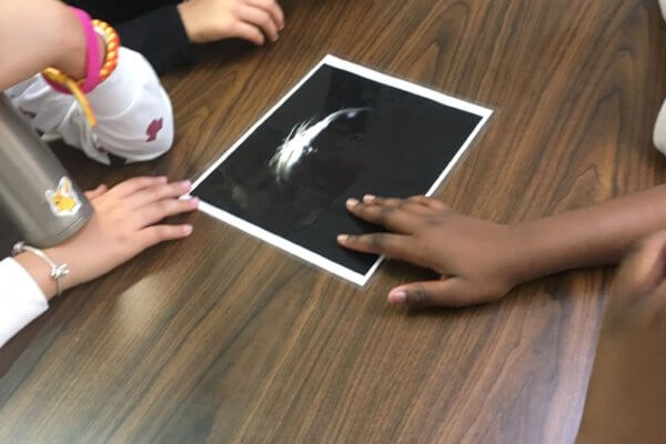 A picture of a face is on a table with students hands around it.
