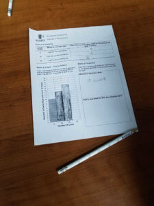 A worksheet showing student collected data and a bar graph.