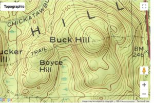 Topographic map showing contour lines.