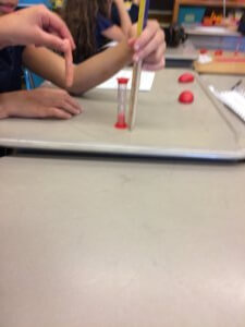 Students measure silly putty.