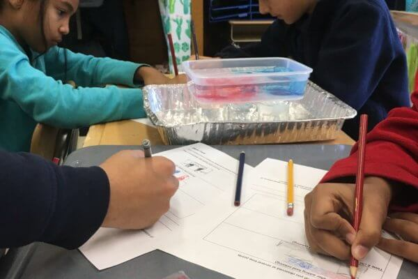 Students investigate a container of water with red and blue food coloring that represent hold and cold storm fronts.