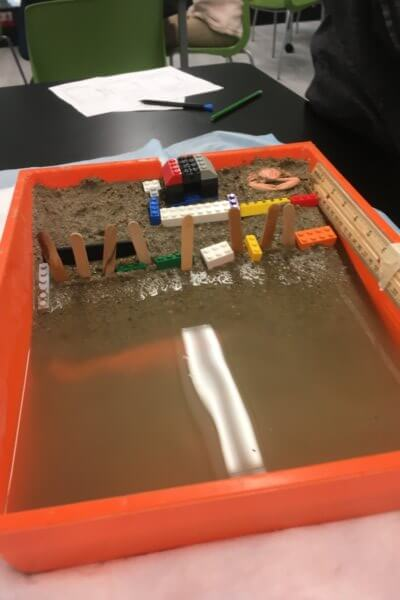 A model beach with an erosion barrier is shown.