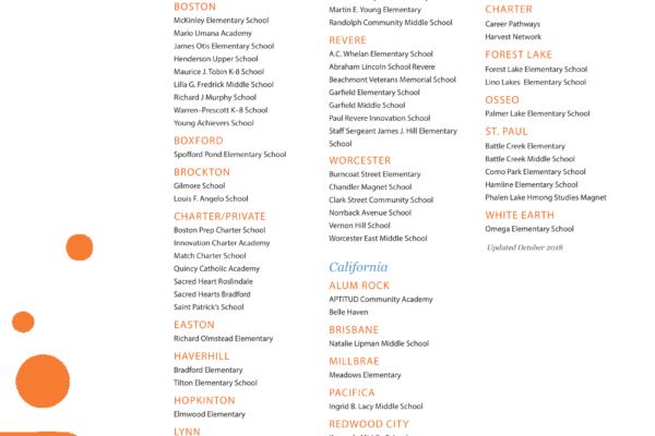 A list of school partners.