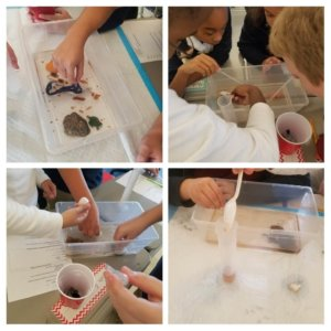 A collage of pictures of oil spill models.