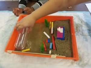 A model beach is shown in a paint tray with a lego house and erosion barrier.