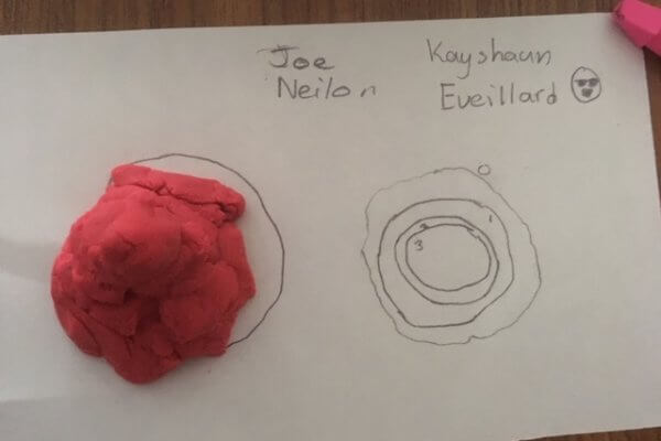 A hand drawn topographic map is shown made from a playdough mountain.