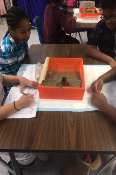 Students look at their model beach.
