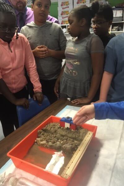 Students build an erosion barrier in their model beach.