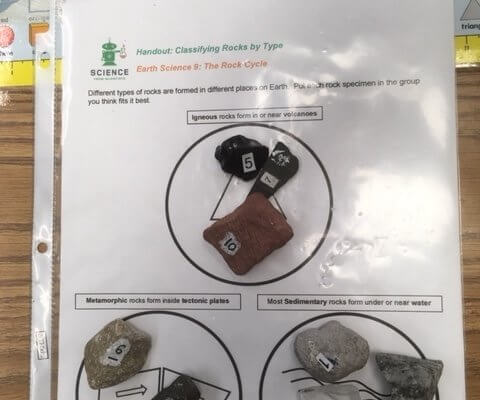 Rocks are classified on a worksheet.