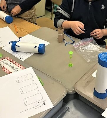 Students make a model of a mystery to be using a paper towel roll