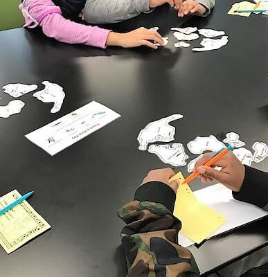 Students work with cutouts of tectonic plates.