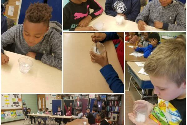 Students observe dry ice in a collage of pictures.