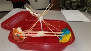 Students contruct a bridge from skewers.