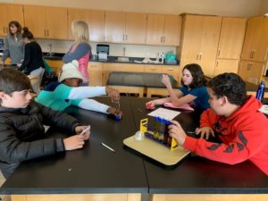 Students investigate viscosity with tubes of liquid