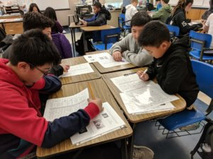 Students review worksheets.