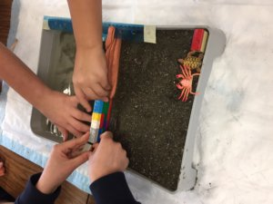 Students build a wall out of Legos to stop erosion in their model beach.