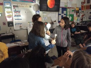 Students model an eclipse with model earth, moon and flashlight for the sun.
