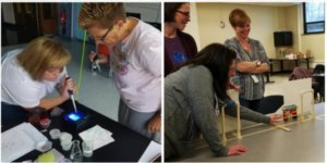 Teachers doing experiments during STP workshops.