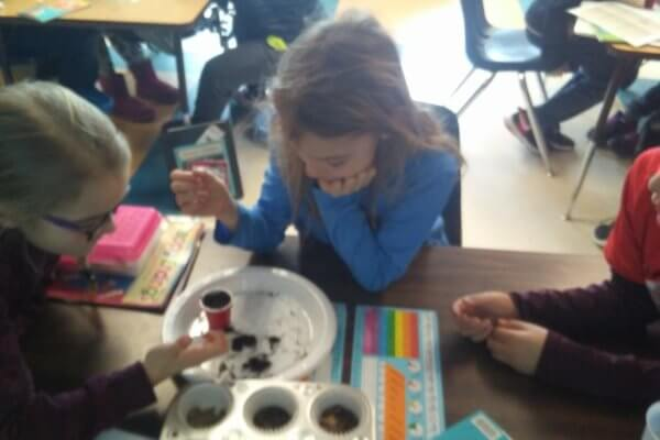Students look at soil samples on a plate at a table.