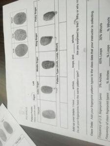 A worksheet with fingerprints on it.