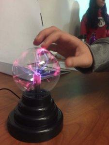 A plasm globe is shown.