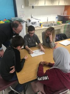 Students working at a table on a worksheet.