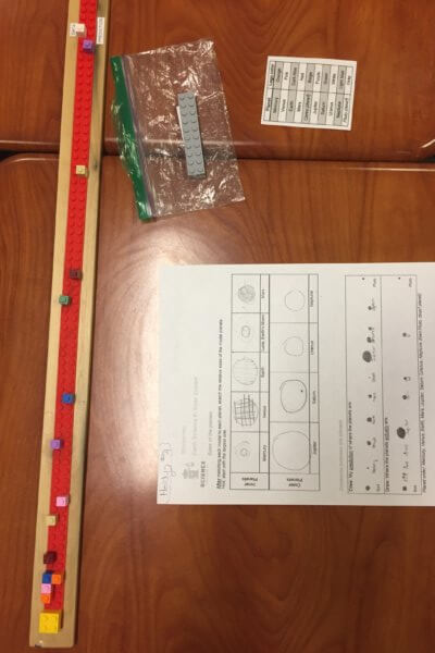 A model of the solar system using legos and a worksheet.