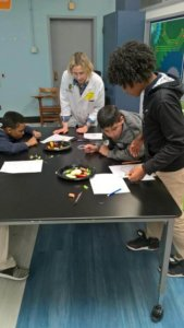 Students learn about plants by observing vegetables.