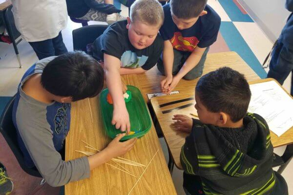 Students work in a group to construct a bridge with skewers.