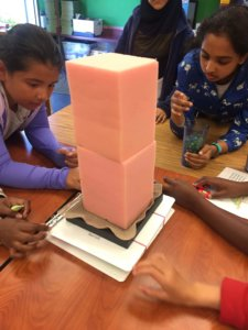 Students use foam blocks on a shake table to investigate how buildings respond to an earthquake.