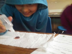A student drops water onto a pennie.