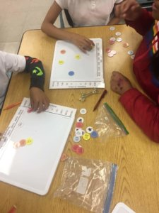 Students place chips on a graph.