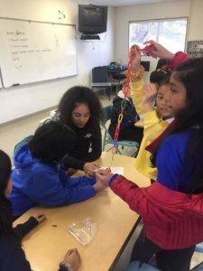 Students investigate pendulums.