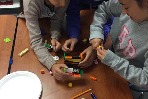 Students build with Legos