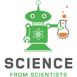 Science from Scienitsts logo of Scimon the Robot folding a bubbling flask.